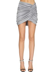 Alexandre Vauthier Draped Rib Jersey Lame Skirt Light Grey