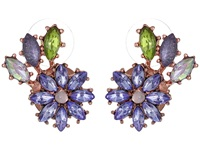 Betsey Johnson Spring Fling Purple Flower Leaf Stud Earrings Purple Earring