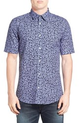 Dieselr Men's Diesel Extra Trim Fit Floral Print Short Sleeve Woven Shirt