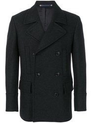 Paul Smith Ps By Double Breasted Slim Fit Coat Nylon Viscose Cashmere Wool S Grey