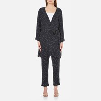 Ganni Women's Rosemont Crepe Dotted Kimono Dotted Eclipse Blue