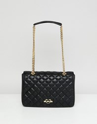 Love Moschino Quilted Shoulder Bag With Gold Strap Black