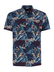 Linea Ali Floral Short Sleeve Shirt Airforce Blue