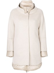 Herno Double Face Coat Feather Down Polyamide Cashmere Nude Neutrals