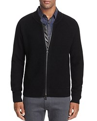 Hugo Saio Bomber Zip Cardigan Sweater Black