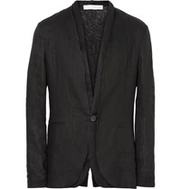 Isabel Benenato Black Raw Edged Linen Blazer Black