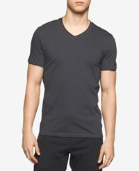 Calvin Klein Men's Feeder Striped V Neck Cotton T Shirt Gray
