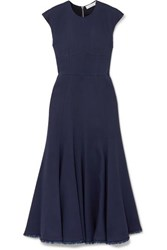 Gabriela Hearst Crowther Frayed Crepe Midi Dress Navy