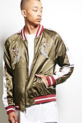 Forever 21 Standard Issue Satin Jacket Olive Silver