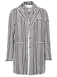 Moncler Gamme Bleu Striped Short Coat Blue