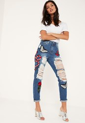 Missguided Blue High Rise Snake Badge Mom Jeans