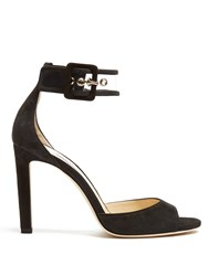 Jimmy Choo Moscow 100Mm Suede Sandals Black