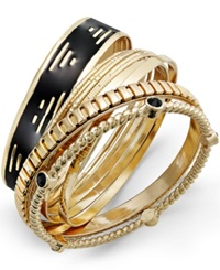 Bar Iii Gold Tone Black Geometric Bangle Bracelet Set