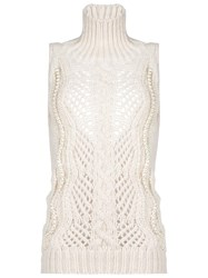 Ermanno Scervino High Neck Sleeveless Blouse Nude Neutrals
