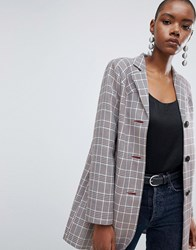 Asos Design Check Formal Coat With Western Stitching Multi