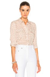 Equipment Cropped Sleeve Signature Top In Abstract Animal Print Neutrals Abstract Animal Print Neutrals