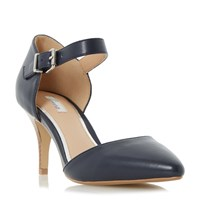 Linea Charta Stacked Heel Open Court Shoes Navy
