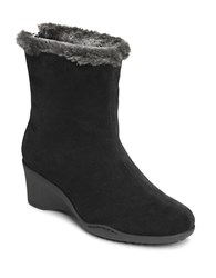 Aerosoles Attorney Faux Fur Trimmed Ankle Boots Black