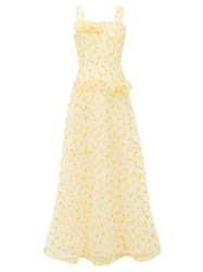 Rodarte Flocked Heart Print Dropped Waist Tulle Maxi Dress Yellow