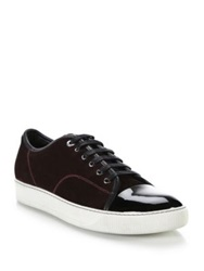 Lanvin Suede And Patent Leather Low Top Sneakers Burgundy Petrol Blue Dark Grey Black