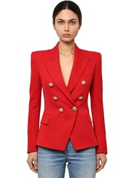 Balmain Double Breasted Wool Twill Blazer Red