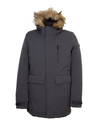 Orobos Fur Trim Long Sleeve Hooded Parka Jacket Charcoal