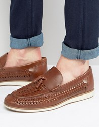 Red Tape Woven Tassel Loafers In Black Leather Brown