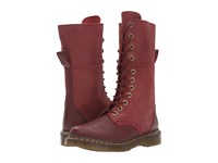 Dr. Martens Hazil Tall Slouch Boot Cherry Red Virginia Women's Lace Up Boots Brown
