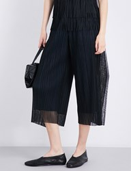 Issey Miyake Wide Leg Cropped Pleated Tulle Trousers Black
