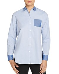 Foxcroft Non Iron Color Block Shirt Blue Wave