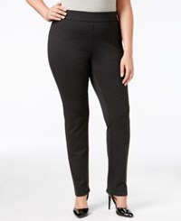 Inc International Concepts Plus Size Ponte Pull On Skinny Pants Only At Macy's Dark Heathered Grey