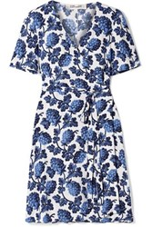 Diane Von Furstenberg Emilia Printed Crepe Wrap Dress Blue