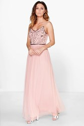 Boohoo Boutique Embellished Prom Maxi Dress Nude