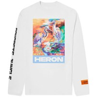 Heron Preston Long Sleeve Water Colours Print And Embroidery Tee White