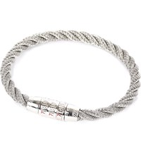 Tateossian Sterling Silver And Stainless Steel Braided Combination Lock Bracelet