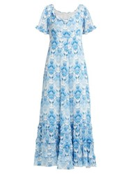 Athena Procopiou Kalua Floral Print Silk Dress Blue White