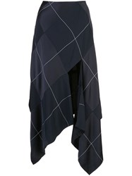 Monse Satin Panelled Plaid Skirt Blue