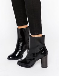 New Look High Ankle Patent Block Heeled Boot Black