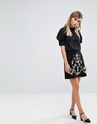 Oasis Embroidered A Line Mini Skirt Black