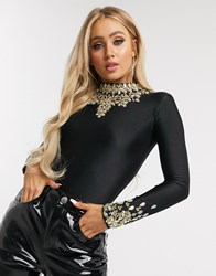 A Star Is Born Embellished Bodysuit In Black And Gold