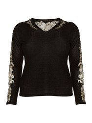 Persona Plus Size Aloe Lace Detail V Neck Knitted Sweater Black