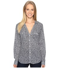 Columbia Sun Drifter L S Shirt Collegiate Navy Anchors Away Women's Long Sleeve Button Up Gray
