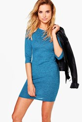 Boohoo Brushed Knit Bodycon Dress Teal