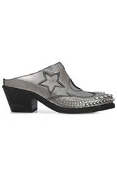 Mcq By Alexander Mcqueen Embellished Metallic Cracked Leather Mules Silver