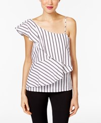 Marled Striped One Shoulder Tiered Blouse White Combo