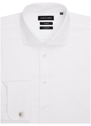 Austin Reed Check Classic Fit Long Sleeve Cutaway Collar Form White