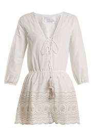 Athena Procopiou Sunday Morning Lace Up Cotton Playsuit Ivory