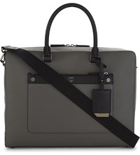 Mcm Markus Leather Briefcase Charcoal Grey