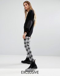 Reclaimed Vintage Fitted Trousers In Black And White Check With Raw Hem Black