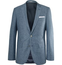 Hugo Boss Blue Hutsons Slim Fit Slub Virgin Wool And Silk Blend Blazer Blue